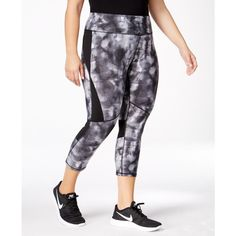 Calvin Klein Performance Plus Size Printed Compression Capri Leggings ($60) ❤ liked on Polyvore featuring plus size women's fashion, plus size clothing, plus size pants, plus size leggings, neutral combo, patterned leggings, slim fit trousers, print capri leggings, rock pants and white capri leggings