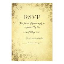 Vintage Antique Look Wedding RSVP Card Personalized Invite