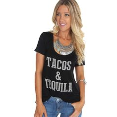 It's 5 o'clock somewhere! Time for some tacos & tequila! Don't miss out on this Tacos Tee ($19.99) available at #sophieandtrey and online at www.sophieandtrey.com! #tacos #tequila #summer
