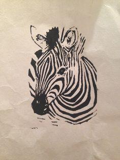 zebra // linocut