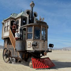 The Neverwas Haul:  This enchantingly quirky home on wheels was built in 2006 as a vehicle through which to explore the Burning Man music festival. It was built using recycled and repurposed elements, and combines pieces of old steam engines as well as steam ships. The steam-punk themed vehicle is even available for rent!