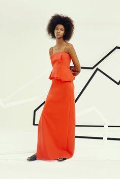 Chalayan Resort 2016 Natural Hair Afro Hair Orange Dress