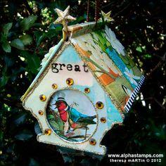 theresa mARTin artwork: Book Roof Birdhouse Tutorial