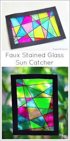 Faux Stained Glass Art Project for Kids- a fun and easy drawing and coloring activity for children of all ages. glass crafts for kids Faux Stained Glass Suncatcher Craft for Kids Stained Glass Crafts, Faux Stained Glass, L'art Du Vitrail, Sharpie Crafts, Wax Paper Crafts, Sharpie Projects, Paper Art, Cool Art Projects, Craft Projects For Kids