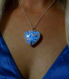 Blue Glowing Heart Necklace Glowing Jewelry Glowing by dressstar