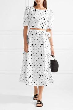 White linen Ties at side, button fastenings through front linen Dry clean Summer Co Ords, Lisa Marie Fernandez, Top Designer Brands, White Skirts, Beachwear, What To Wear, Midi Skirt, Polka Dots, Cold Shoulder Dress