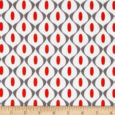 Riley Blake Mod Studio Wallpaper Red from @fabricdotcom  Designed by Holli Zollinger for Riley Blake, this cotton print is perfect for quilting, apparel and home decor accents.  Colors include red, white and grey.