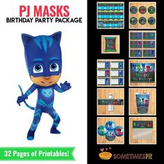 12 PJ Masks Birthday Party Capri Sun Juice Pouch Sticker Time To Be A Hero Label