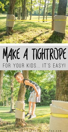 Are your kids bored like mine? Make a tightrope for them in under 5 min! Beat the boredom with this simple outdoor play idea.