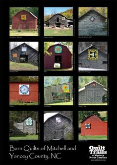 """Point of interest: Check out the many different """"quilt tiles"""" featured on the old buildings and barns around Burnsville and all over Yancey County, NC    MAPS of Quilt Trail are broken into east and west Burnsville here:  East - http://www.quilttrailswnc.org/docs/newmaps/eastburnsville-map.pdf    West - http://www.quilttrailswnc.org/docs/newmaps/westburnsville-map.pdf"""