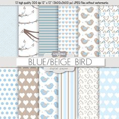 Check out Blue beige birds digital papers by burlapandlace on Creative Market