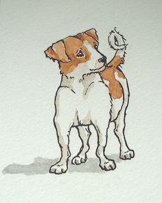 I saw the sweetest little dog on a train the other day. I sketched him from memory a little later, then produced an ink and watercolour version this afternoon. I changed his markings so that he now… Dog Pictures, Cute Pictures, Book Illustration, Illustrations, Sketch Inspiration, Dog Memes, Little Dogs, Dog Sketches, Dog Drawings