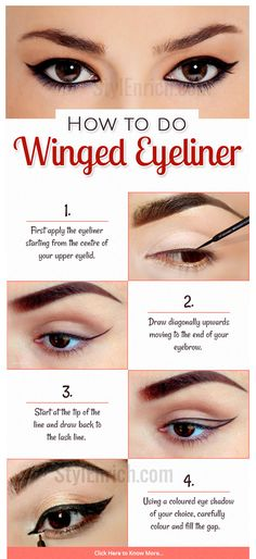 Eye #makeup is an art and doing it perfectly is very important to show off your glamorous eyes. The most important part of eye makeup is the application of eye liner. Winged eyeliner is the latest trend in eye makeup today. Here are some simple step by step procedures on how to apply winged eyeliner.