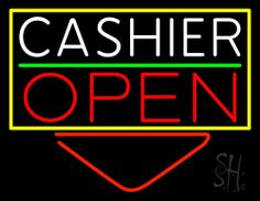 Cashier With Arrow Open Neon Sign 24 Tall x 31 Wide x 3 Deep, is 100% Handcrafted with Real Glass Tube Neon Sign. !!! Made in USA !!!  Colors on the sign are Yellow, White, Red and Green. Cashier With Arrow Open Neon Sign is high impact, eye catching, real glass tube neon sign. This characteristic glow can attract customers like nothing else, virtually burning your identity into the minds of potential and future customers.
