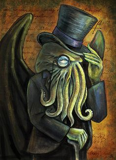 Dapper Cthulhu Art Print  HP Lovecraft by DianaLevinArt on Etsy, $15.00
