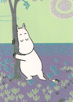 "Moomin by Tove Jansson. ""Lie on the bridge and watch the water flowing past. Or run, or wade through the swamp in your red boots. Or roll yourself up and listen to the rain falling on the roof. It's very easy to enjoy yourself. Les Moomins, Moomin Valley, Tove Jansson, Theme Noel, Little My, Typography Prints, Children's Book Illustration, In This World, Childrens Books"