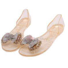 Heel Covering Peep Toe Bow Rhinestone Jelly Shoes