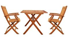 LuuNguyen - Win Outdoor Hardwood 3-Piece Folding Bistro Dining Set (Natural Wood Finish) by LuuNguyen. $258.74. Partially Assembled. Some Assembly Required. Beautiful Eucalyptus Outdoor Patio Garden Dining Set At An Affordable Price. Solid Hardwood Treated with Oil, Natural Color Stained. Environmental Friendly Products. Made From FSC Eucalyptus Solid Hardwood. This Set included: 1 x Square Folding Table (LNO79064) 2 x Win Folding Arm Chairs (LNO79018) Products Dimensions: Assemb...