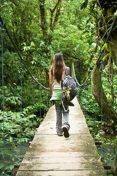 suspension bridge, Tenorio National Park in Guanacaste, Costa Rica.