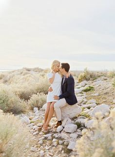 white cocktail dress for engagement photos