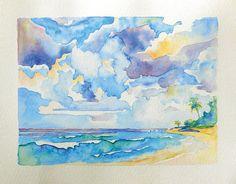 """Barbados, Watercolor, 11""""x 9"""" $300 USD (Original). Available December 2013."""