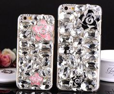 3D Luxury Bling Crystal Camellia Flower Diamond Phone Case Cover For iphone 5/5S 6 6S 6SPLUS Samsung Galaxy S4/S5/S6/S6 Edge Plus jeweled Cases