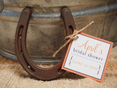 24 - Lucky Horseshoe Wedding Favors - Personalized April Tag Design - Rustic Wedding Favors // Rustic Bridal Shower Favors // Cowboy Favors by lulusugar on Etsy https://www.etsy.com/listing/126717171/24-lucky-horseshoe-wedding-favors
