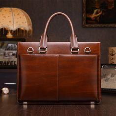 Men Real Leather Business Lawyer Briefcase Messenger Bag Laptop Handbag Purse #teemzone #BriefcaseAttache