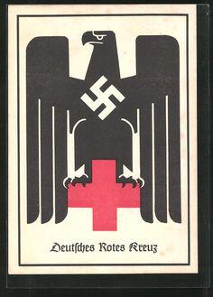old postcard: AK Deutsches Rotes Kreuz, Reichsadler mit Hakenkreuz