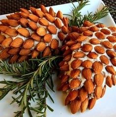 Cheese ball decorated like a pine cone