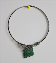 Artsy green gemstone necklace with silver by thoughtsdesigner, $50