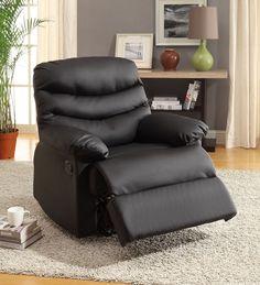 Furniture Of America Recliner In Black Bonded Leather Cm-Rc6928Bk
