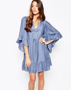 BCBGMAXAZRIA Tunic Dress with Angel Sleeve with Drawstring