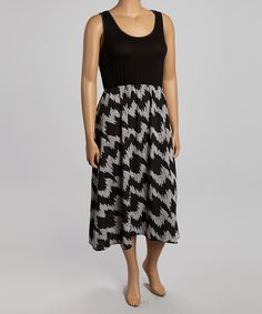 Take a look at this Black & White Abstract Sleeveless Dress - Plus by Moa Collection on #zulily today!
