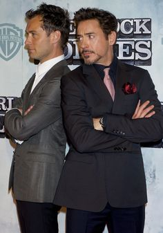 Jude Law and Robert Downey Jr. (with his Tony Stark stach!)