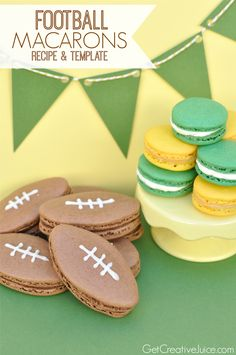 Football Macarons - recipe and template