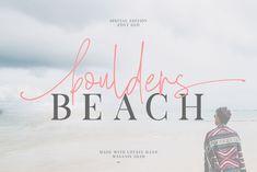 Boulders Beach Font  Duo by Masanis on @creativemarket Script Logo, Handwritten Fonts, New Fonts, Serif Font, Beach Fonts, Boulder Beach, Commercial Use Fonts, Illustrations, Premium Fonts