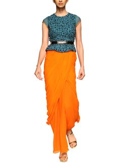 Indian Fashion Designers - Sougat Paul - Contemporary Indian Designer Clothes - Designer Gowns - AW13 - SP189 - Stunning Teal and Orange Gown