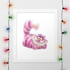 CHESHIRE CAT, Cheshire Cat Print, Alice In Wonderland, Cheshire Alice, Alice Cat, Disney Watercolor, Wonderland, Nursery, Digital Print