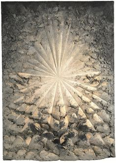 """Jay DeFeo is best known for this monumental painting, entitled The Rose, which she started in 1958 and completed over the course of eight years. The piece consists of white and gray paints layered so thickly onto the canvas that, in some ares, the paints are almost eight inches thick. She used so much oil paint that she called it """"a marriage between painting and sculpture.""""  The Rose measures 7.5 x 11 feet and weighs 2,300 pounds"""