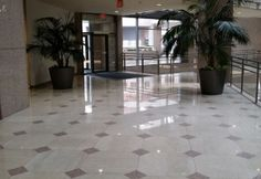 Commercial Lobby - Polished Marble and Granite Floor Scope of work: sand and polish marble, sand and hone granite plus protect floor with a penetrating sealer. Granite Flooring, Marble, Commercial, Polish, Gallery, Vitreous Enamel, Granite, Manicure, Nail Polish