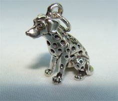DALMATIAN Dog 3 D Charm Sterling Silver with FREE by CharmAndChain, $20.95
