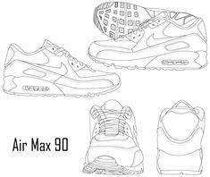 Air Max 90, Nike Air Max, Fashion Design Sketchbook, Fashion Design Drawings, Fashion Sketches, Shoe Sketches, Flat Sketches, Fashion Sketch Template, Sneakers Sketch