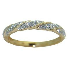 0.12 cttw. Diamond Ring in 14 ky https://www.goldinart.com/shop/diamond-bands/0-12-cttw-diamond-ring-14-ky #14KaratYellowGold, #DiamondRing