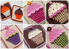 Crochet cupcake pot holder - I used this pattern to make a colorful afghan for my daughter, mixing in squares with cookies, donuts, and peppermint candies. Crochet Afghans, Grannies Crochet, Crochet Squares Afghan, Crochet Potholders, Crochet Blocks, Love Crochet, Crochet Motif, Crochet Stitches, Crochet Baby