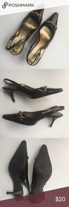 Etienne Aigner slingbacks with gold chain detail Etienne Aigner slingbacks in chocolate brown with gold chain detail. Worn once. Etienne Aigner Shoes Heels