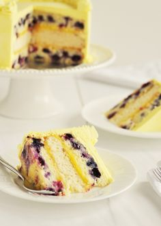 Triple lemon blueberry layer cake.