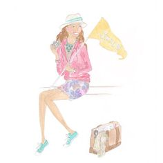 Smile illustration fashion illustration- watercolor- illustration- art print- beach fashion