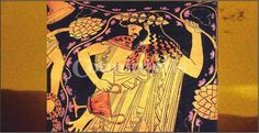 Dionysus depicted holding his symbolic grapevine. During the classical period the Greek theater emerged as a form of reverence of Dionysus. Ancient Art, Ancient History, Art History, Classical Period, Satyr, Bacchus, Greek Art, In Vino Veritas, Greek Gods