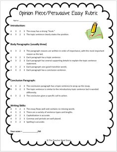 rubric for persuasive essay